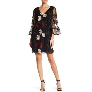 ECI Floral Black Multicolor Embroidered Mesh Dress